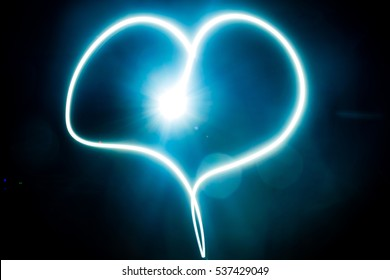 Heart blue light painting