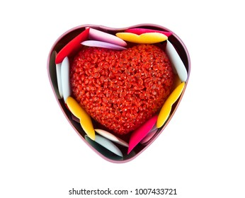Heart box with Colorful mini hearts isolated on white background, Valentine decorations, Various hearts, Clipping path.