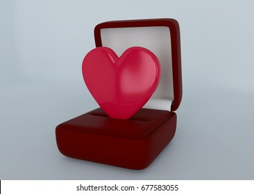 Heart in the box. A box from under the rings. Romantic offer. 3D rendering