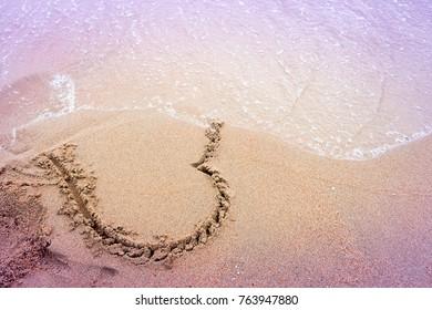 Heart broken concept/heart on sand erase by sea wave /love texture background