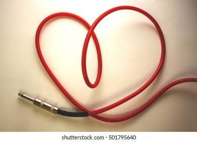 Heart cable.Screensaver for music store.The heart of the red cable