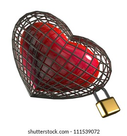 Heart in a cage with a padlock. on a white background