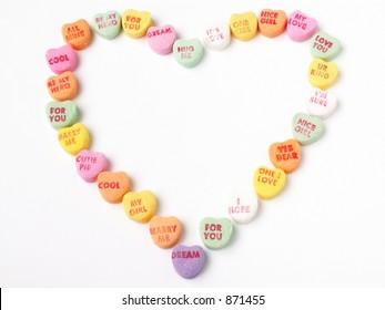 heart of candy hearts - horizontal