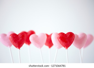 Heart candy Lollipops for Valentine's Day in a bunch.