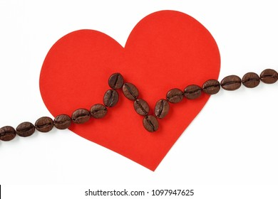 Heart with cardiogram line made of coffee beans