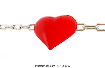 heart in chains. 3d Illustrations on a white background