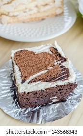 Heart Chocolate Brownie on white dish