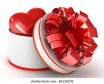 Heart in a circle gift box