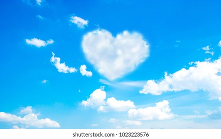 heart cloud in blue sky