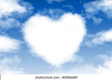 Heart cloud in the blue sky
