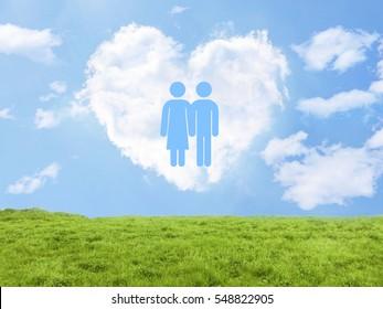 heart cloud field couple