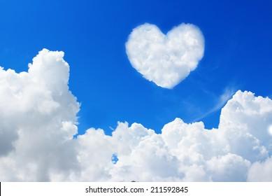 heart cloud on blue sky