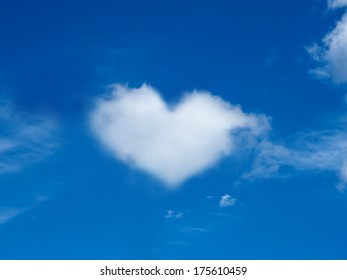 heart cloud shape blue sky