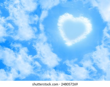 heart cloud shape on blue sky background