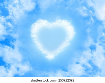 heart cloud shape on blue sky background