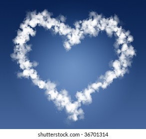 Heart clouds with blue skies