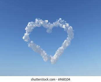 heart clouds on blue sky - 3d illustration