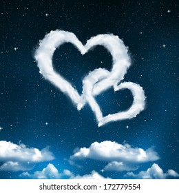 Heart from clouds on night sky. Valentines night.