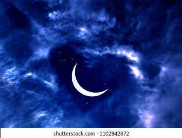 Heart of clouds, stars, crescent and night romantic sky