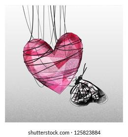 Heart cocoon fall in love
