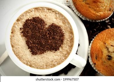 heart and coffee