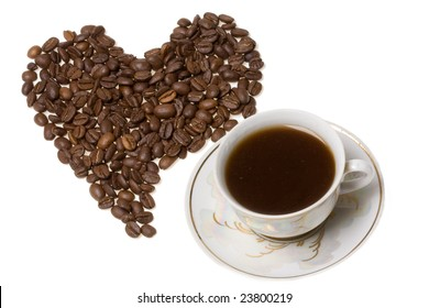Heart from coffee beans close up