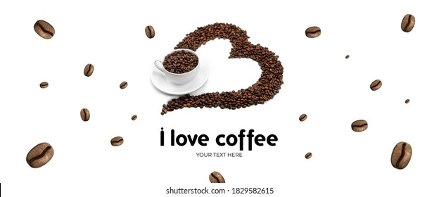 Heart of coffee beans with cup of coffee on white background. Long header banner format. Panorama website header banner. High quality photo