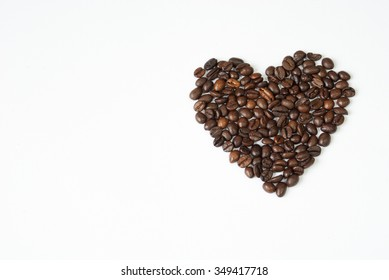 Heart of coffee with copy space