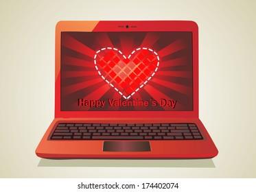 Heart Concept. Laptop