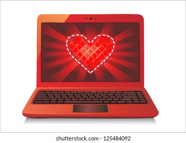 Heart Concept. Laptop on white Background.