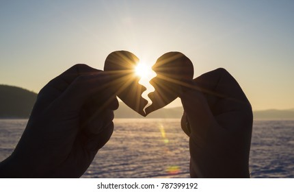 heart connect the hands of lovers, silhouette at sunset, the day of all lovers, St. Valentine's day, love