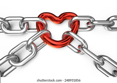 heart connected chain isolated on white background