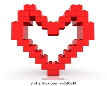 Heart construction of toy bricks in red color.3d illustration