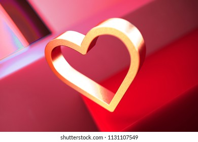 Heart Contour Icon on the Red Geometric Background. 3D Illustration of Metallic Love, Heart, Shape, Like, Favorite Icon Set With Color Boxes on Red Background.