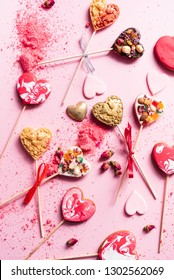 heart cookie pops for Valentine's Day