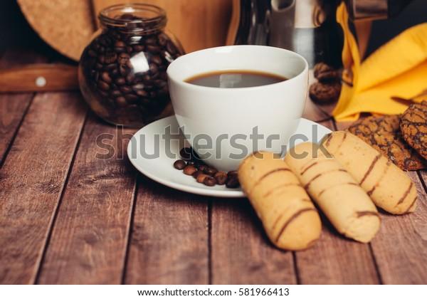 heart cookies on a saucer, chocolate shortbread cookies mug, coffee beans, coffee Turk.