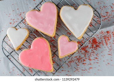 Heart Cookies and Sugar Sprinkles over wax paper