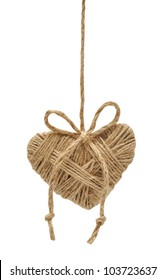 heart decoration hanging on the ropes isolated on white