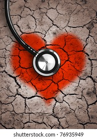 Heart in desert land and stethoscope