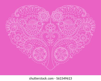 Heart design color raster illustration. Tattoo stencil. Lace pattern