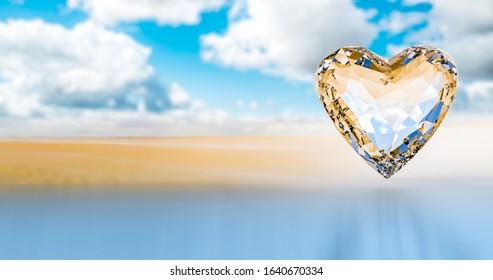 heart Diamond on the sky and desert Lost love Valentine day forever love gem wedding jewel