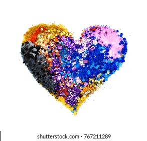 heart of different colored sequins and beads