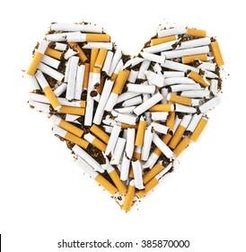 Heart disease. Cigarettes in a shape of a heart.