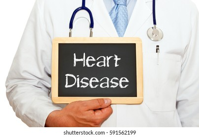 Heart Disease - Doctor with chalkboard on white background