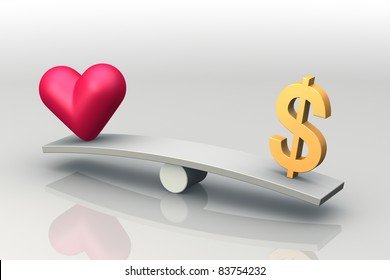 Heart and Dollar on seesaw