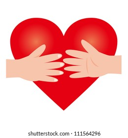 Heart Donation Concept Present With Heart and Cross Sign Over The Hand Isolated on White Background