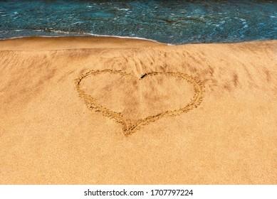 Heart drawn on the beach, on the sand, on the sea coast.