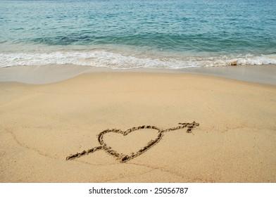 Heart Drawn on the sandy beach