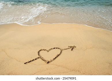 Heart Drawn on the surfy beach