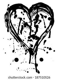 Heart drops of paint black sketch. Vintage Poster.